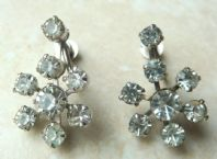 Vintage Floral Drop Rhinestone Screw Back Earrings.